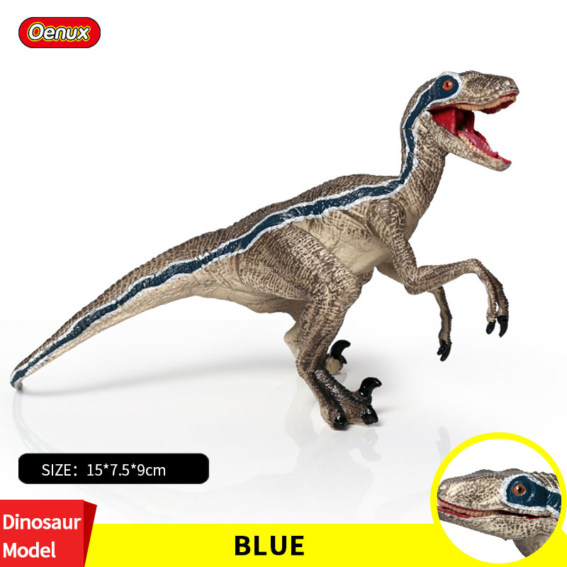Oenux New Prehistoric Velociraptor Blue T-REX Model Dinosaur Mouth Can Open Pvc Jurassic Dinossauro Animals Collection Kid Toy italy gp brand dinofroz combact special form of cartoon classic monster toy dinosaur model collection absolutely can t miss it