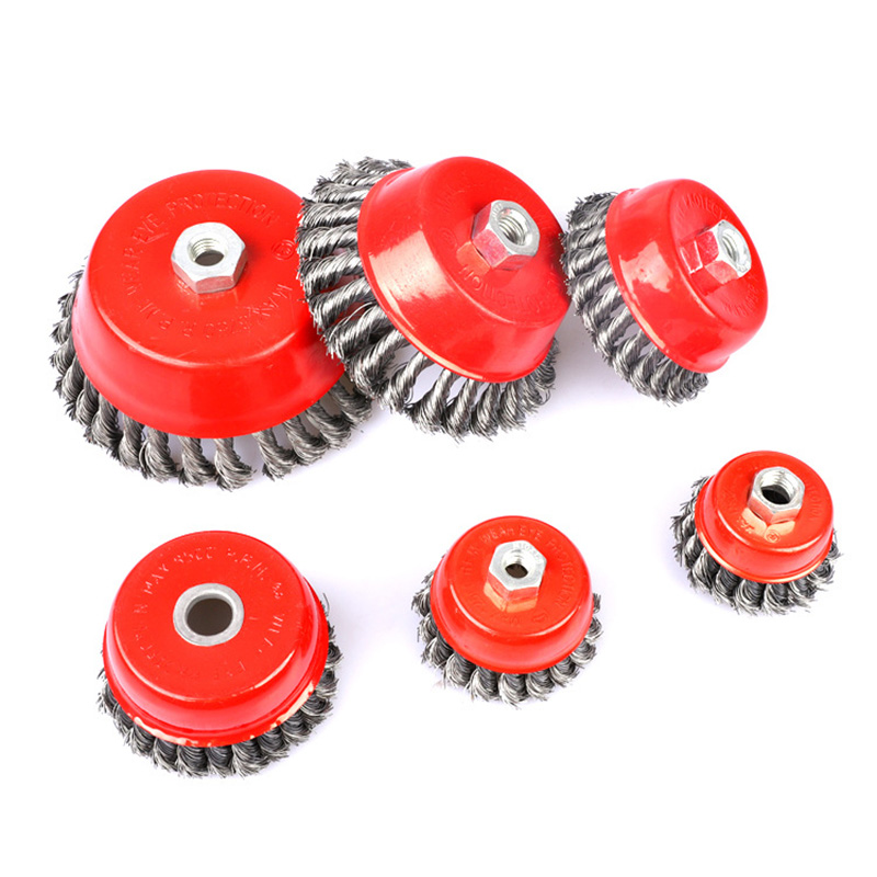 1 Pcs Wire Cup Brush Knotted Threaded 4 Inch Removal Rust Corrosion Paint Anti-breakage JDH99