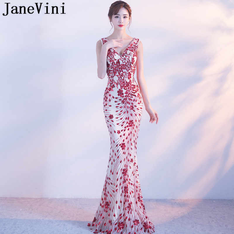 JaneVini Sexy Red Sequins Mermaid Bridesmaid Dresses Long Vintage Women  Ladies Wedding Party Gown V- 50ac589a0842