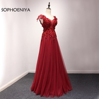 New Arrival V Neck Red Lace Evening dress long 2018 Abendkleider abiye vestidos de festa prom dresses robe de soiree