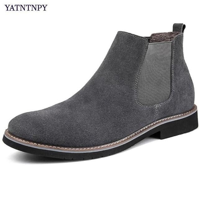 c67d5167f YATNTNPY Camurça Genuína Sapatos De Couro Homens Bota de Cano Curto para o  homem, Slip
