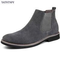 Genuine Suede Leather Shoes Men Short Boot Slip On Martin Boots Fur Inside Warm Winter Chelsea