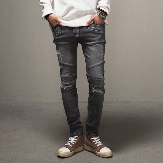 Biker Jeans Men Ripped Motorcycle Jeans 2017 New Fashion Scratched Design Retro Denim Pants Free Shipping nostalgia retro design fashion men jeans european stylish dimensional knee frayed hole destroyed ripped jeans men biker jeans