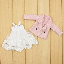 Одежда для 1/6 года; комплект из 2 предметов; кружевное платье; розовое пальто