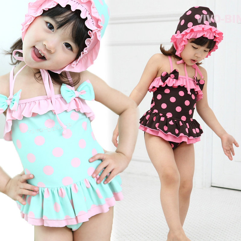 cfee0617377 New Arrival 2016 Hot Sale Infant Bathing Suits Cute Pink Polka Dot Swim  Wear Summer Style Baby Girls Swimming Suit with Hat-in Swimwear from Mother    Kids ...