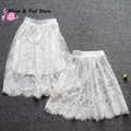 Summer Women Sexy Lace Skirts Fashion Solid Casual Mesh tulle skirt Hollow Out short Pencil Elegant Black White Skirt