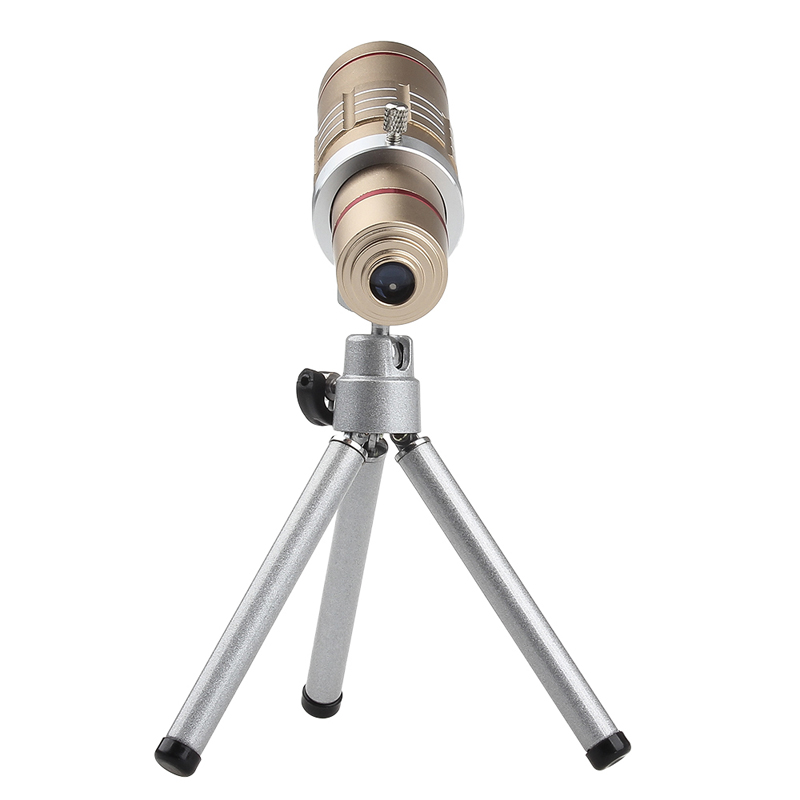 Universal 18x zoom lens Magnification Optical Camera Telephoto Lens Telescope With mini Tripod For Iphone Smartphone Gold 6