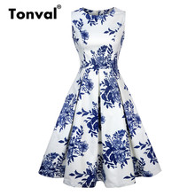 Tonval White Pleated Casual Floral Vintage Summer Dress Women Elegant Blue Flower High Waist Retro Dresses