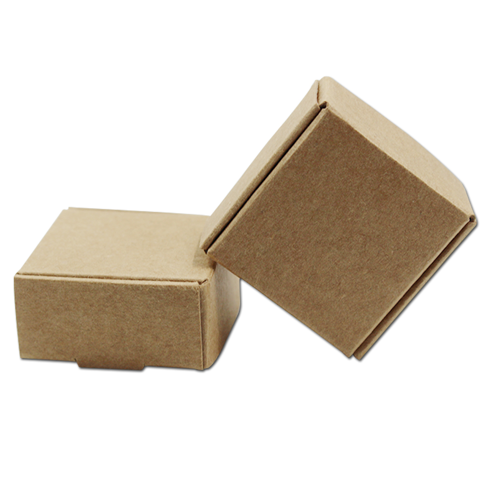 50Pcs Brown Kraft Paper Gifts Packaging Boxes Wedding DIY Favors Candy Packing Boxes for Birthday Party Supplies Handmade Soap