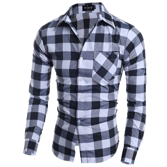 4c979b47 Italian Men Shirts Camicie Style Single-Breasted Men'S Shirt Long Sleeve  Classical Plaid Dress Shirt Homme Camiseta Masculina