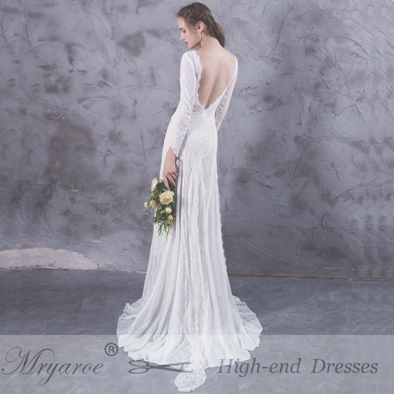 Mryarce Exquisite Lace Long Sleeve Backless Wedding Dresses 2017 ...