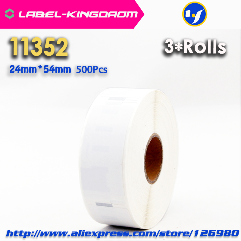 3 Rolls Dymo Compatible 11352 Label 25mm*54mm 500Pcs/Roll Compatible for LabelWriter400 450 450Turbo Printer Seiko SLP 440 450