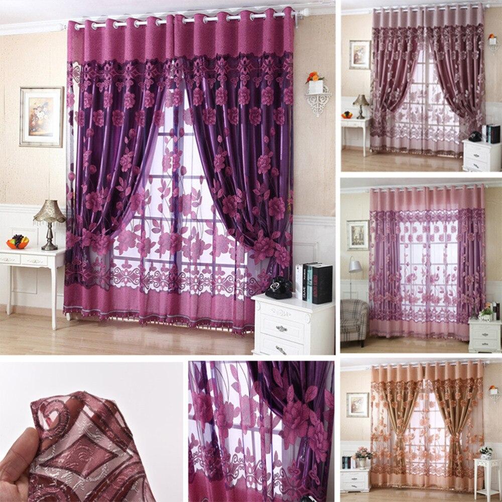 nuevo modelo de flor pura voile ventana panel cortina cortinas con ojal de lujo textiles para el hogar cortinas de moda decoraci