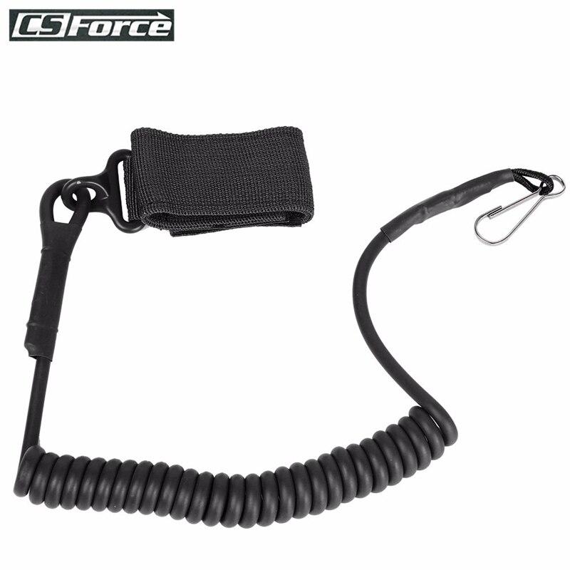 Tactical Pistol Handgun Elastic Spring Lanyard Sling For Duty Belt Molle Military Combat Single Point Gun Sling Adjustable