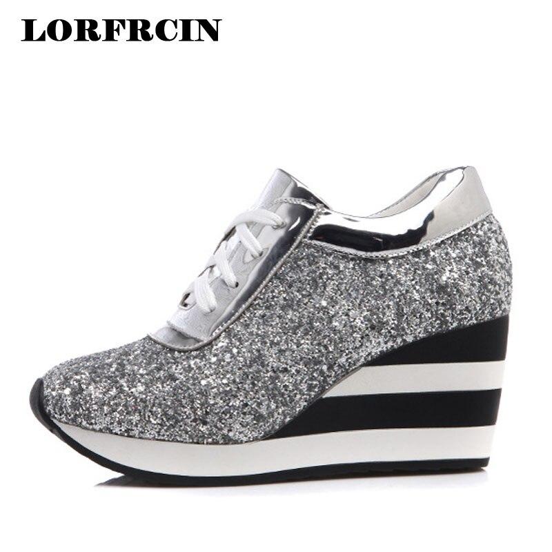 На платформе Chaussures женщина 7.5 см повседневная обувь на танкетке увеличивающие рост модные кроссовки Lentejuelas женская обувь весна осень 2017 Раз...