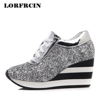 Platfrom Shoes Woman 7 5 Cm Wedges Casual Height Increasing Trainers Fashion Sequins Women Shoes Sping