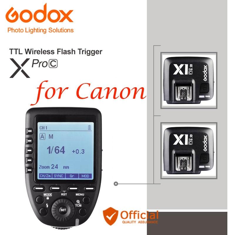 GODOX XPro-C E-TTL 2.4G Wireless Flash Trigger+Receiver For Canon EOS 600EX-RT 580EX II 430EX II V860C 50D 5D Mark III 40D 750D rc 6 wireless ir remote control for canon eos 5d mark ii more 1 x cr2025