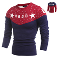 2015 Men'S Fashion Animal Print Sweater Men Patchwork Slim Pull O-Neck Long-Sleeved Sweater Solid Sweater Men H9006