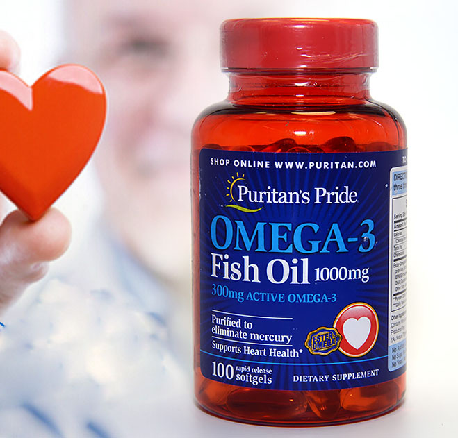 Omega-3 Fish Oil 1000 mg (300 mg Active Omega-3)-100 pcs free shipping