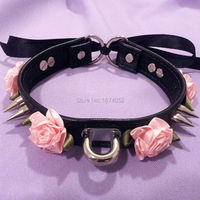 Harajuku Kawaii Punk Rock Flower Spikes Leather Collar Double Spiked Lace Up Choker Colalr Necklace