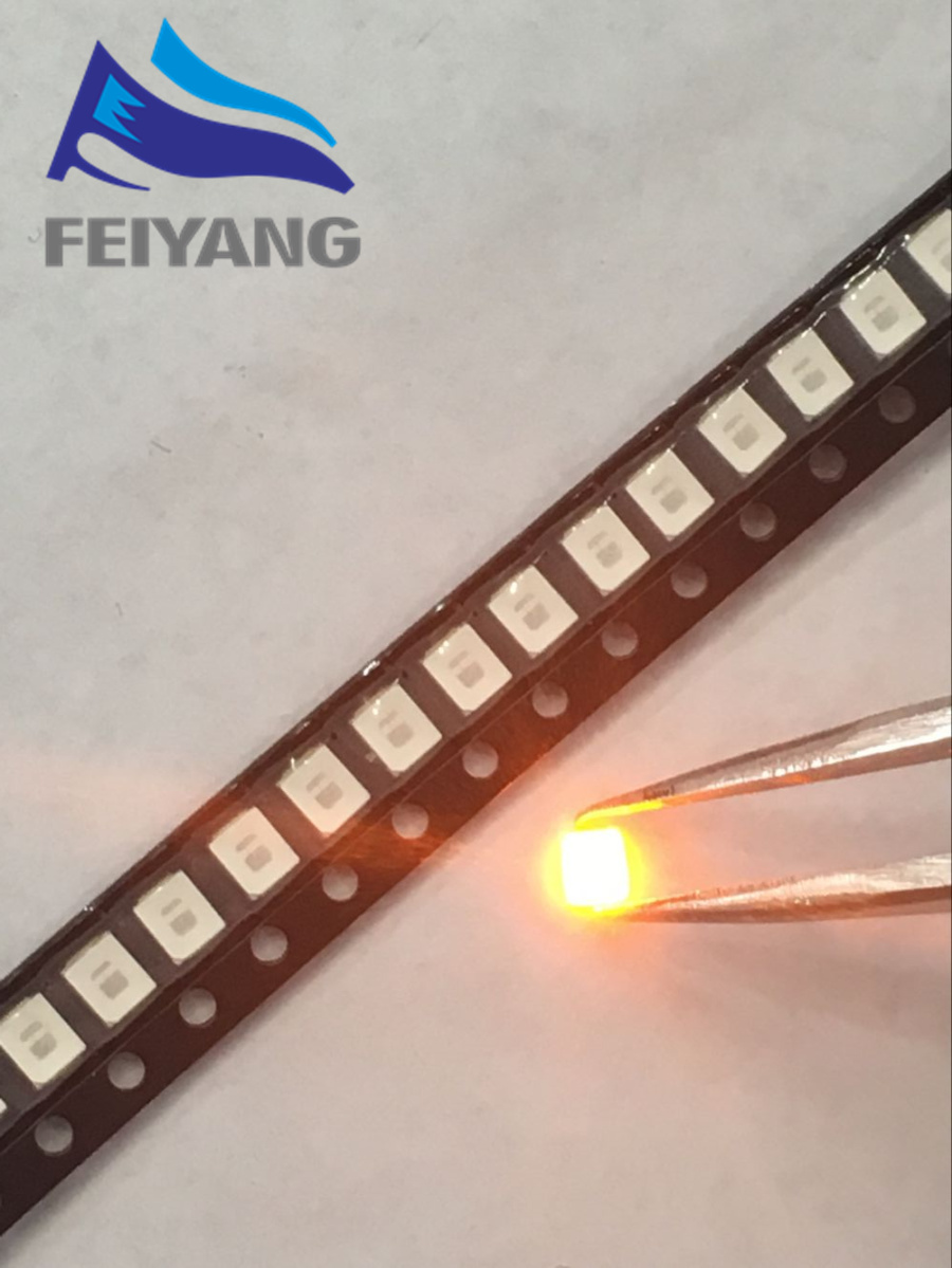 100PCS/lot <font><b>SMD</b></font> <font><b>LED</b></font> <font><b>2835</b></font> Yellow 0.2W 2.0-2.6V 580-590NM PLCC-2 <font><b>SMD</b></font>/SMT 2V 3.5*2.8*0.8MM 60Ma 3528 <font><b>2835</b></font> <font><b>led</b></font> image