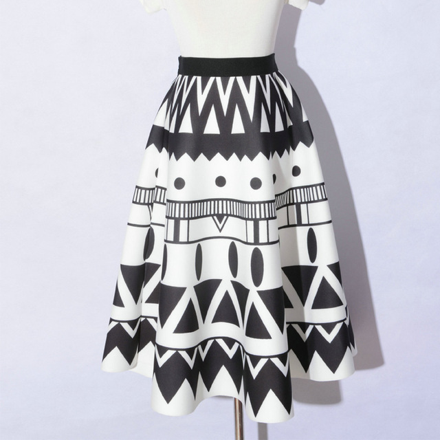 Fashion New Autumn Printing Midi Skirt Elastic High Waist Ink/Geometric/Floral Printed A-line Puffy Thick Middle Skirt