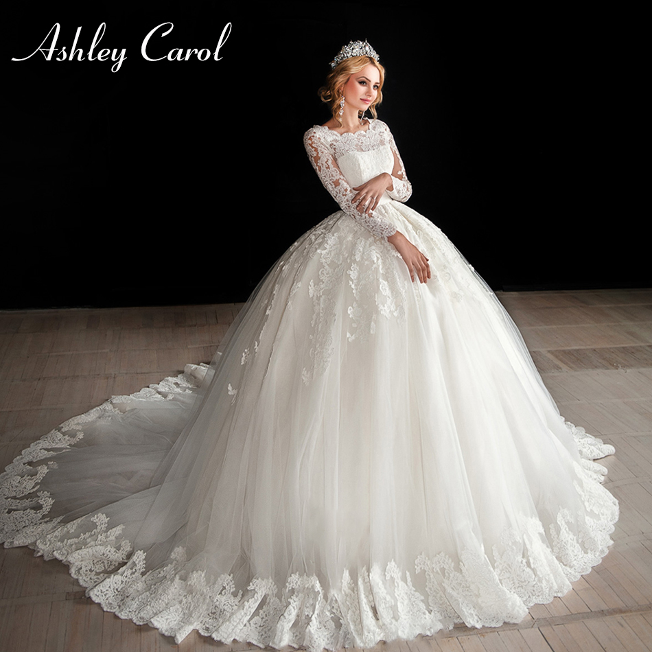Ashley Carol Fashion Scoop Long Sleeve Princess Ball Gown Wedding Dress 2019 New Vintage Bride Dress Tulle Luxury Wedding Gowns