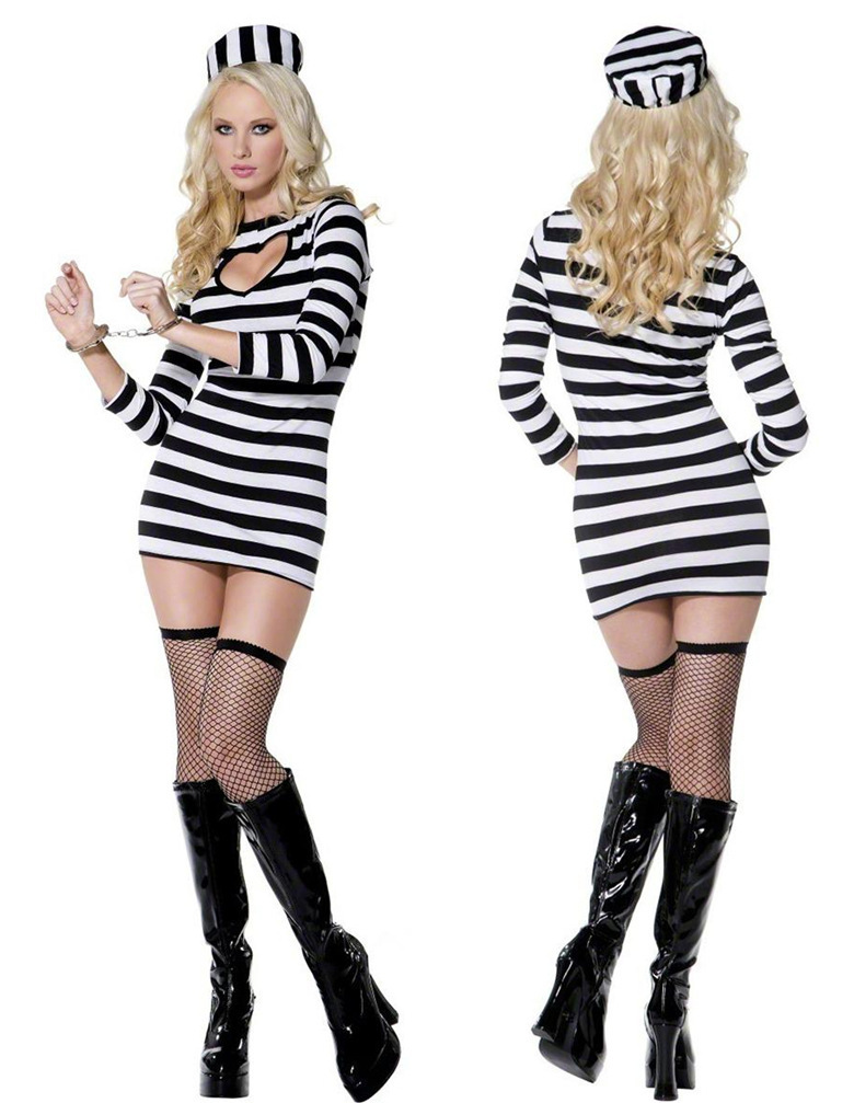 Sexy prisoner halloween costumes, convict inmate costume, women's jail outfits