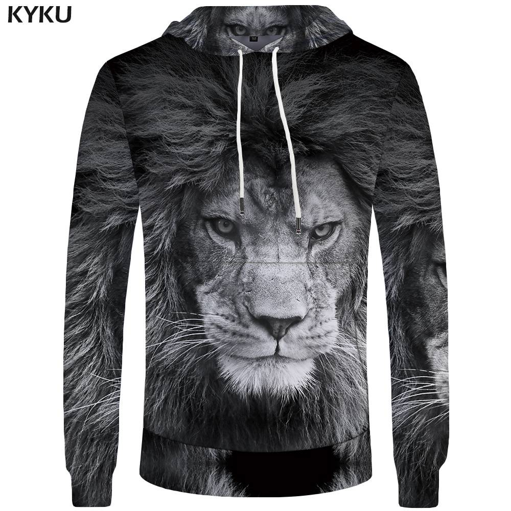 KYKU Lion Hoodies Men Animal Sweatshirt Sexy Big Size Pocket Hoddie Sweatshirts 3d Hoodies Hoodie 2018 Anime Clothes