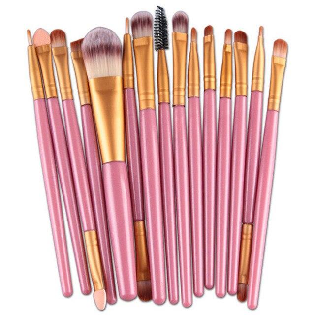 Juego de pinceles de maquillaje tan caliente 15 unids/lote sombra de ojos base brocha de labios para cejas herramienta cosmética de belleza brochas de maquillaje kit de