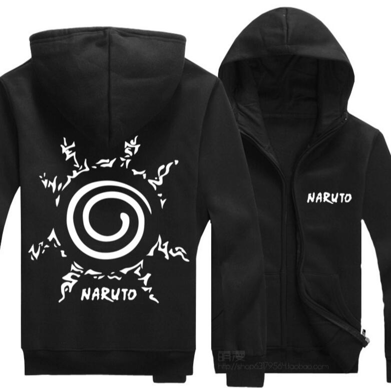 Fashion Anime font b Naruto b font Casual Jacket Black Jacket Sweatshirt Hoodie Coat font b