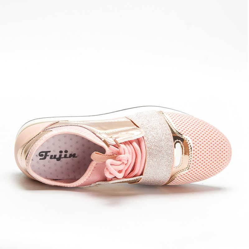 Fujin ใหม่ 2019 ฤดูใบไม้ผลิแฟชั่นผู้หญิงสบายๆรองเท้า Pu หนังรองเท้าผู้หญิงรองเท้าผ้าใบสุภาพสตรี Trainers Chaussure Femme
