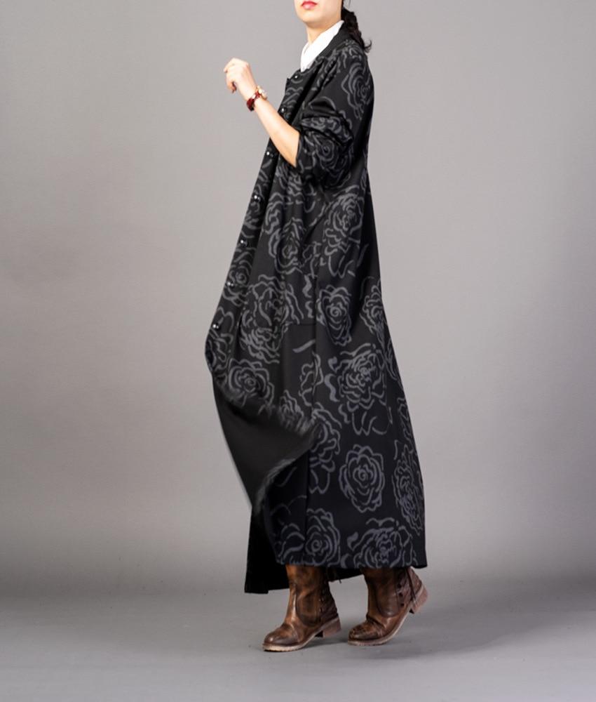 Unique Femelle Femmes Automne Dames Tranchée Long Noir Pardessus Rétro Poitrine Outwear Printemps Lâche 2018 Manteau Imprimé OiTkuwPXZ