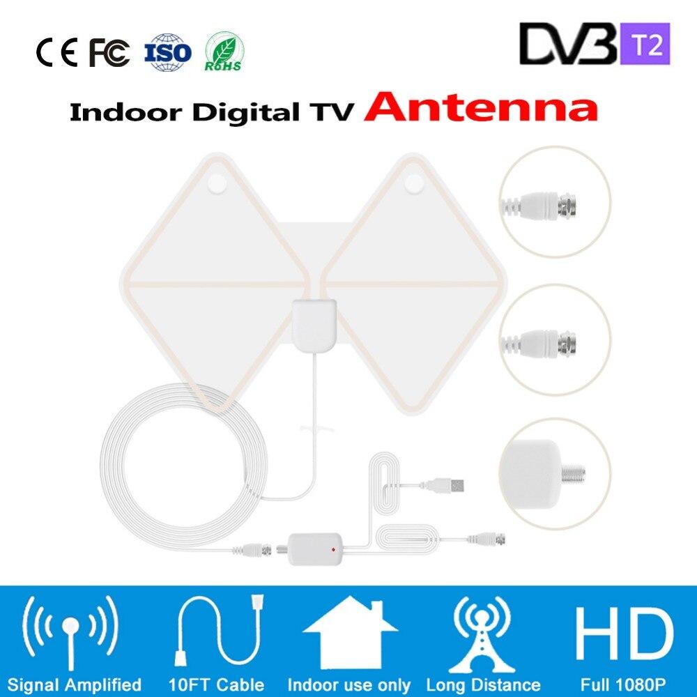 Ультра-тонкий цифровой Dvb-T/T2 Крытый Hd ТВ антенна Vhf/Uhf со съемной Усилитель сигнала Усилитель 50 км Диапазон HD ТВ антенны
