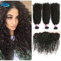 Brazilian Kinky Curly Virgin Hair With Frontal 3 Brazilian Bundles With Closure Brazilian Kinky Curly Lace Frontal With Bundles
