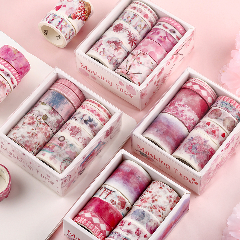 10pcs/set Decorative Washi Tape Fita Adesiva Masking Kawaii  Vintage Stickers Scrapbooking Cute Stationery Wide Papelaria Pink