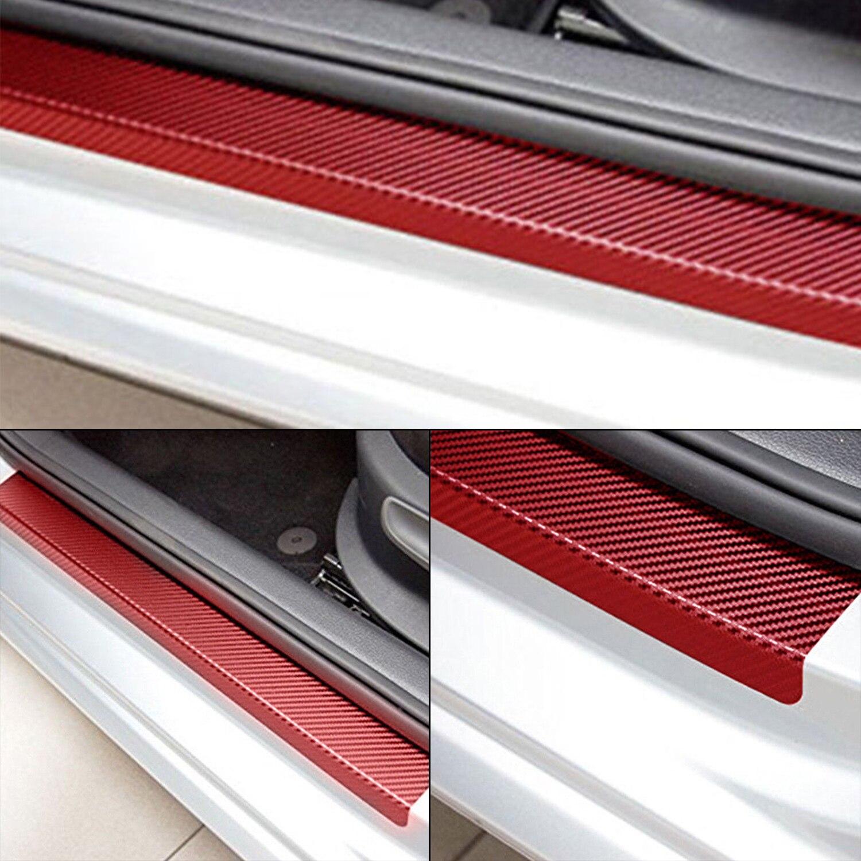 Hot 4Pcs 5D Carbon Fiber Car  Sill Scuff Cover Anti Scratch Decal Sticker US