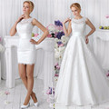 Em Estoque Branco/Marfim Applique Lace Duas Peças Vestido de Noiva Real Pictres vestido de Noiva Novo 2017 Robe De Mariage vestido de Noiva