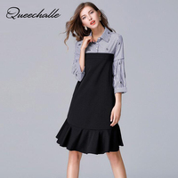 Queechalle Eye Embroidery Striped Print Patchwork Mid Long Women Dress Autumn 3/4 Sleeve Loose A line Dress 5XL Plus Size Dress