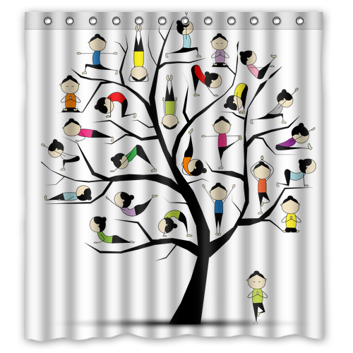 Kids Yoga On The Tree Colorful Leaves Custom Waterproof Shower Curtain Bathroom Products Curtains Size 48x72