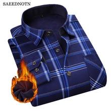 SAEEDNTON 2018 Autumn Winter Men's Long Sleeve Plaid warm Thick Fleece lining Shirt