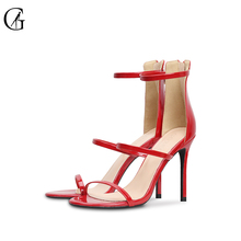 Goxeou new women sandals summer slim heels and high heels red shiny wedding office handmade  Plus size Free Shipping size32-46