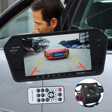 Car Rear View Kit 7 Inch LCD Bluetooth Mirror Monitor With Reverse Camera 170 Degree Wide Angle Lens Support Night Vision Hot