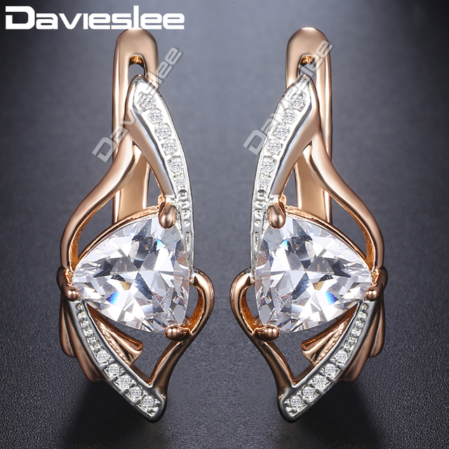 cebcb4d67 Davieslee 585 Rose Gold Filled Stud Earrings Leaf Shaped Paved Triangle  Clear CZ Snap Closure Fashion