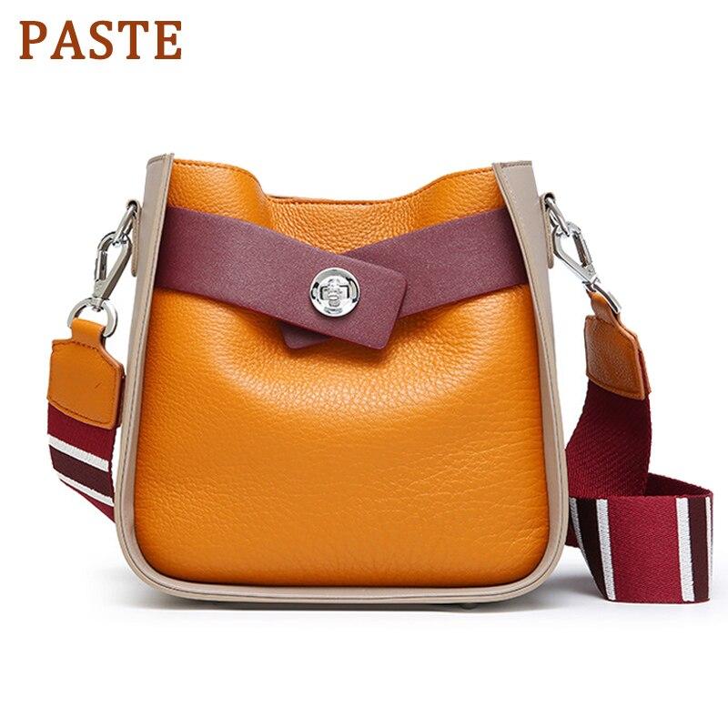 Pâte de luxe marque en cuir véritable petit seau sacs femmes épaule Messenger sacs filles bandoulière sacs femme célèbre sac à main