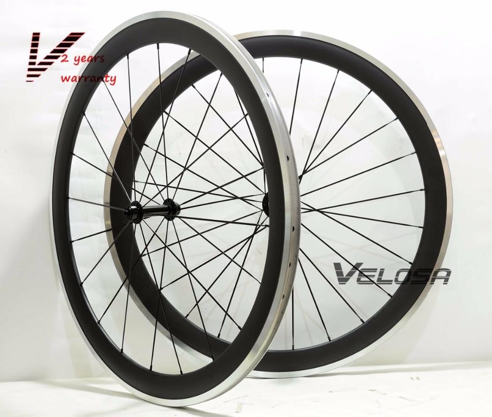 50mm clincher road bike carbon alloy wheelset 700C road bike carbon wheel with alloy brake surface