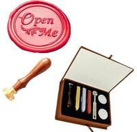 Vintage Open Me Fancy Script Custom Picture Logo Wedding Invitation Wax Seal Sealing Stamp Sticks Spoon