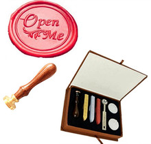 Open Me Fancy Script Custom Picture Logo Vintage Wedding Invitation Wax Seal Sealing Stamp Sticks Spoon Gift Box Set Kit