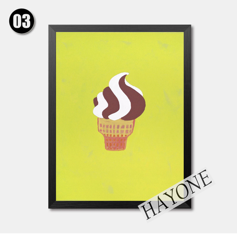 ice cream poster print illustration canvas painting sweet summer ice ...