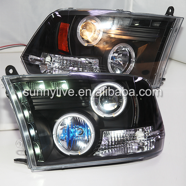 For Dodge Ram RAM PICK UP 1500  2500 3500 LED Headlight Angel Eyes 2009-2012 Year SN xyivyg 02 08 for dodge ram chrome 1500 2500 3500 hd mirror 4 door handle tailgate abs cover